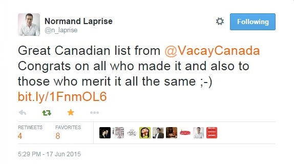 Chef Normand Laprise, whose restaurant Toqué! came in at #2, had a well said response to the results of the 2015 list.